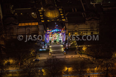 Night aerial view of Christmas lights on Tate Britain, London.