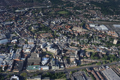 aerial photograph of Norwich, Norfolk, England UK