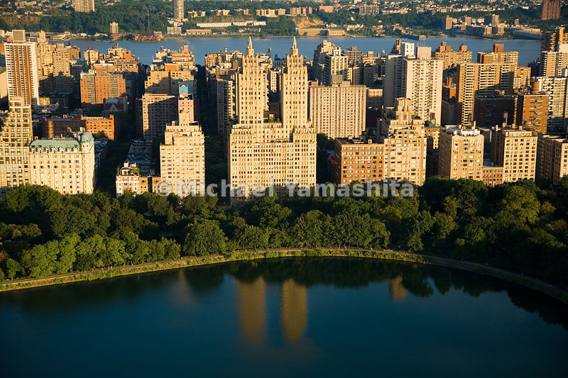 Located at what was once the far-reaches of Manhattan at West 90th St, and Central Park West, the twin-towered El Dorado has full-floor apartments that have view of both river and Central Park.  Manhattan, New York City.