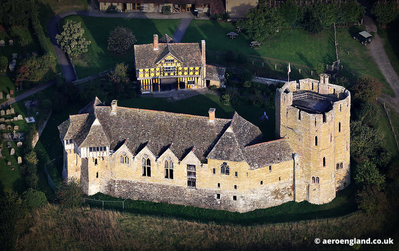 aerial photograph of Stokesay Castle Shropshire England UK
