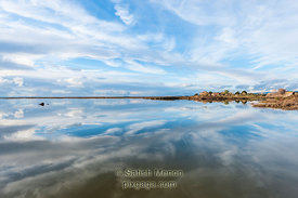 Clouds and Reflection in water, Don Edwards Wildlife Refuge, Alviso, CA, USA
