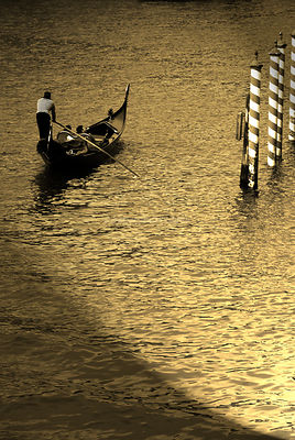 Gondolier in Golden Light