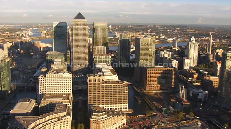 Aerial footage of Canary Wharf, Isle of Dogs, London