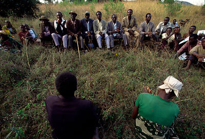 Burundi - Ruyigi - A counsel of the Bashingantahe (roughly meaning wisemen) meeting to settle a dispute in their commune