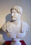 "Marble bust of the Emperor Hadrian. ""Portraits. The Many Faces of Power"" Exhibition"