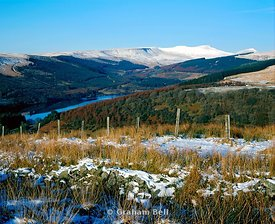 pentwyn reservoir and the brecon beacons in winter wales