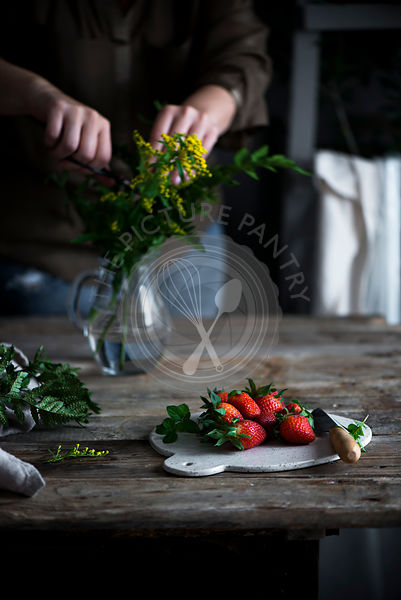 Strawberries in a country kitchen
