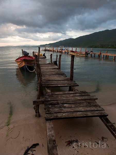 rickety dock at Bluefields, Jamaica