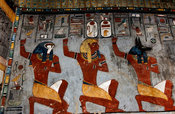 painting of Rameses I, Horus and Anubis in the burial chamber in the tomb of Rameses I, Valley of the Kings, Luxor, Egypt