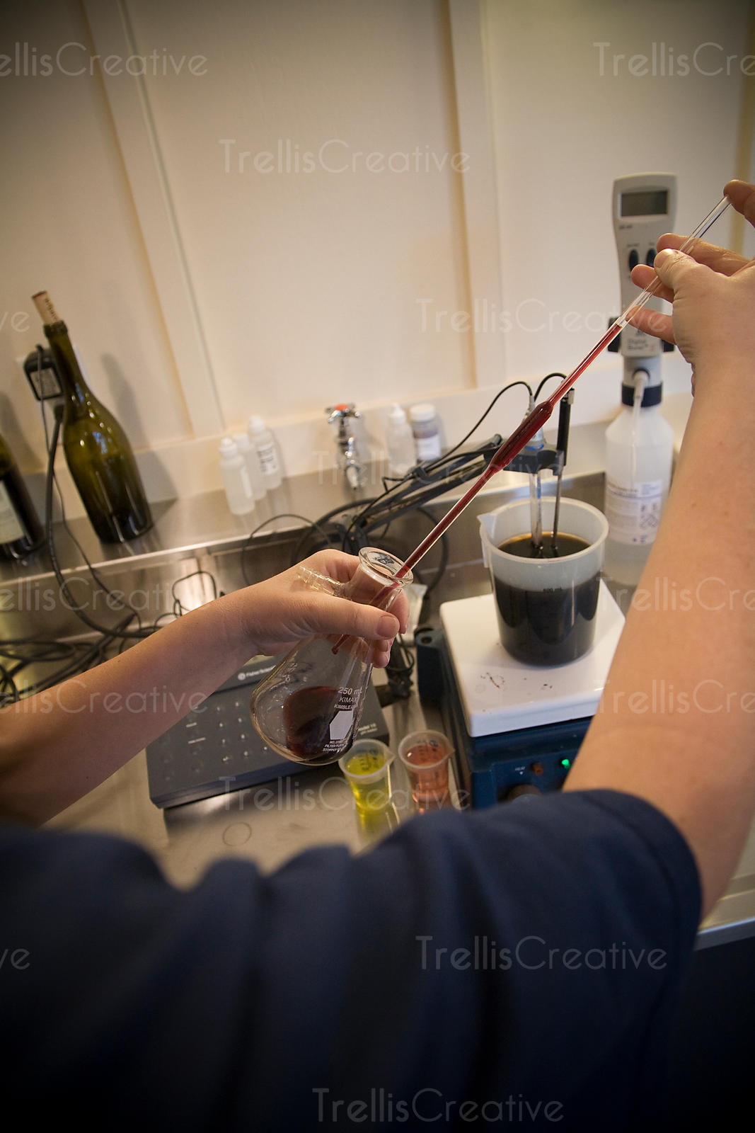 Analyzing chemistry of wine in labratory