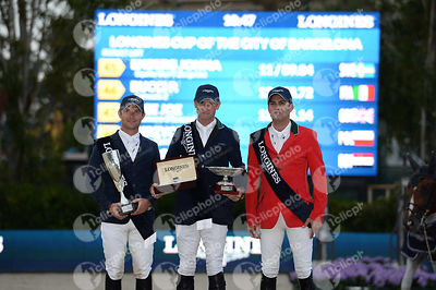 Ondrej ZVARA ,(CZE), Denis LYNCH  ,(IRL), Santiago LAMBRE ,(MEX) during Longines Cup of the City of Barcelona competition at CSIO5* Barcelona at Real Club de Polo, Barcelona - Spain