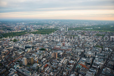 Aerial view of Soho and Mayfair, London