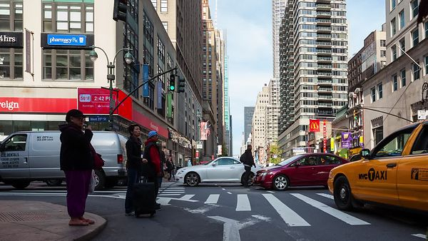 Close Up: Crosswalks Of Midtown, Traffic & Foot Traffic On 6th Avenue