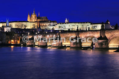 Charles Bridge (1357) over Vltava River, with St Vitus's Cathedral within Prague Castle beyond, Prague, Czech Republic