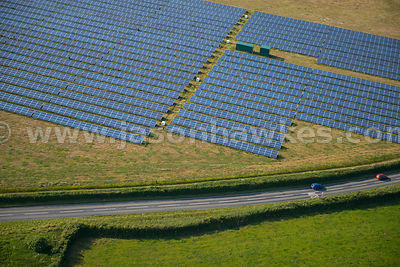 Aerial view of Solar Farm, Cornwall, United Kingdom