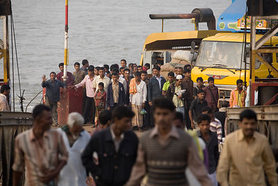 Bangladesh - Chittagong - Passengers disembarking from a ferry on the southern shore of the Karnaphuli River