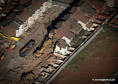 aerial photograph showing the demolition of  Terraced Houses in the Anfield  district of  Liverpool Merseyside England UK