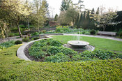 Sybil's Garden, previously site of a vegetable patch, redesigned by Alistair Baldwin in 2005, based on a series of circles, including a sweep of box hedge and a central water feature.York Gate Garden, Adel, Leeds, Yorkshire