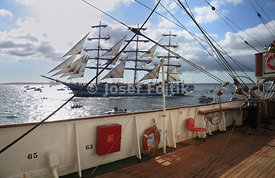 Four masted barque Sedov on start of Funchal 500 race 2008, near Falmouth, Great Britain