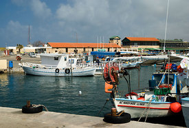 fishing boats moored in paphos harbour, cyprus.