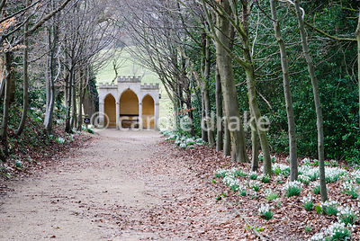 The Gothic Alcove situated at the end of a beech walk. Painswick Rococo Garden, Painswick, Glos, UK