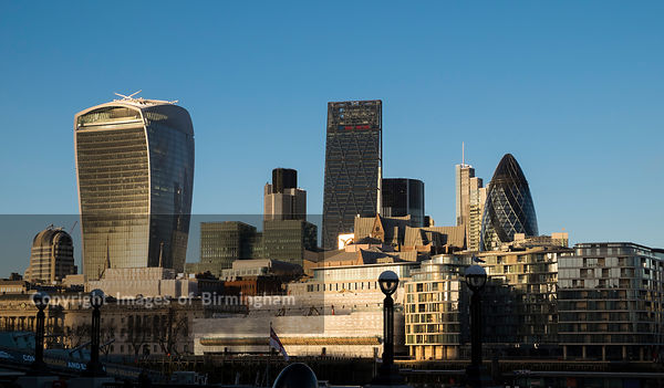 The City of London skyline, incuding 30 St Marys Axe, 122 Leadenhall Street, and 20 Fenchurch Street, England