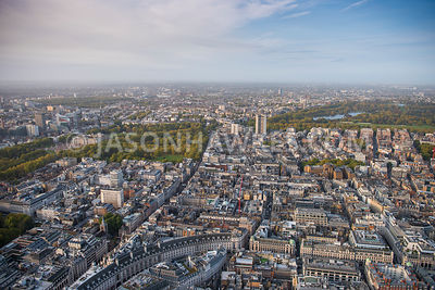 Aerial view of London, Mayfair with St James's from Soho, Regent Street towards Hyde Park.