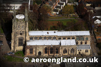 aerial photograph of the Church of St Editha Tamworth    Staffordshire England UK