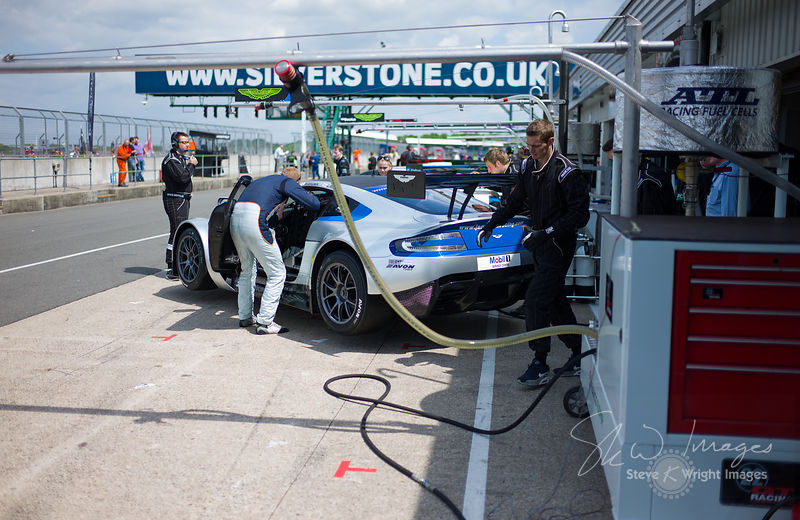 MB Racing's Aston Martin Vantage GT3 in the pits, pre-race, at the Silverstone 500 - the third round of the British GT Championship 2014 - 1st June 2014