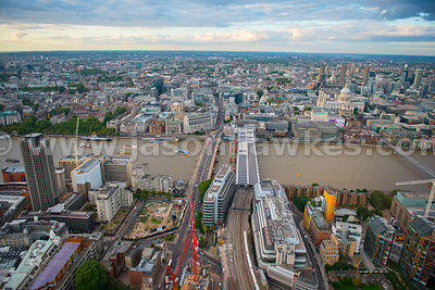 London. Aerial view across the Thames of the City of London