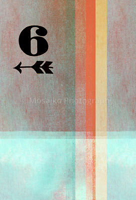 old fashioned number six on textured abstract background - earthy colors - graphic design