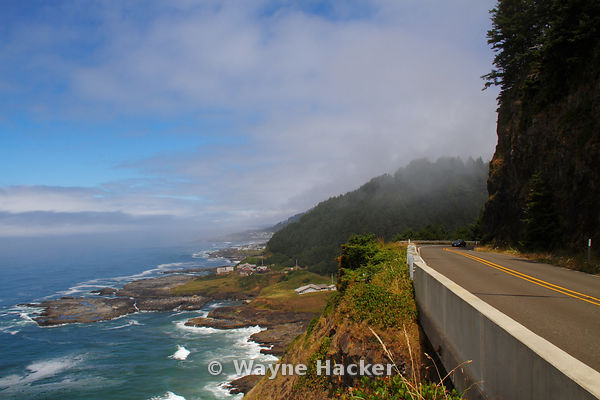 Fog lifting on the coast of Oregon