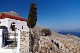 Stavros Stin Monastery, high up in the mountainous interior of Chalki Island near Rhodes, Dodecanese Islands, Greece.