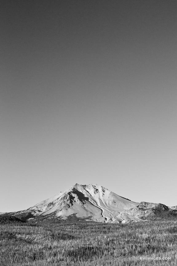LASSEN PEAK VIEW FROM CINDER CONE LASSEN VOLCANIC NATIONAL PARK CALIFORNIA BLACK AND WHITE