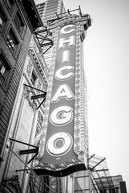 Chicago Theatre Sign Black and White Photo