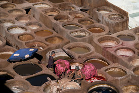 Tannery Chouara in Fes , Medina in Morocco