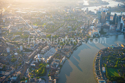 Aerial view of London , close up of Limehouse  Basin  and Docklands at dawn.