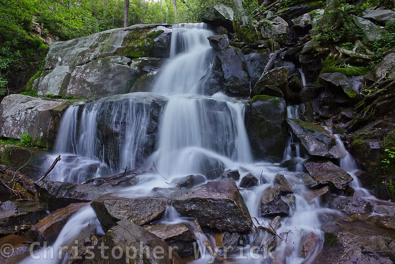 A gorgeous shot of the lower section of Laurel Falls.  The spectacular detail and creamy look of the water give the feeling of standing in the river with the cool water flowing over your feet..