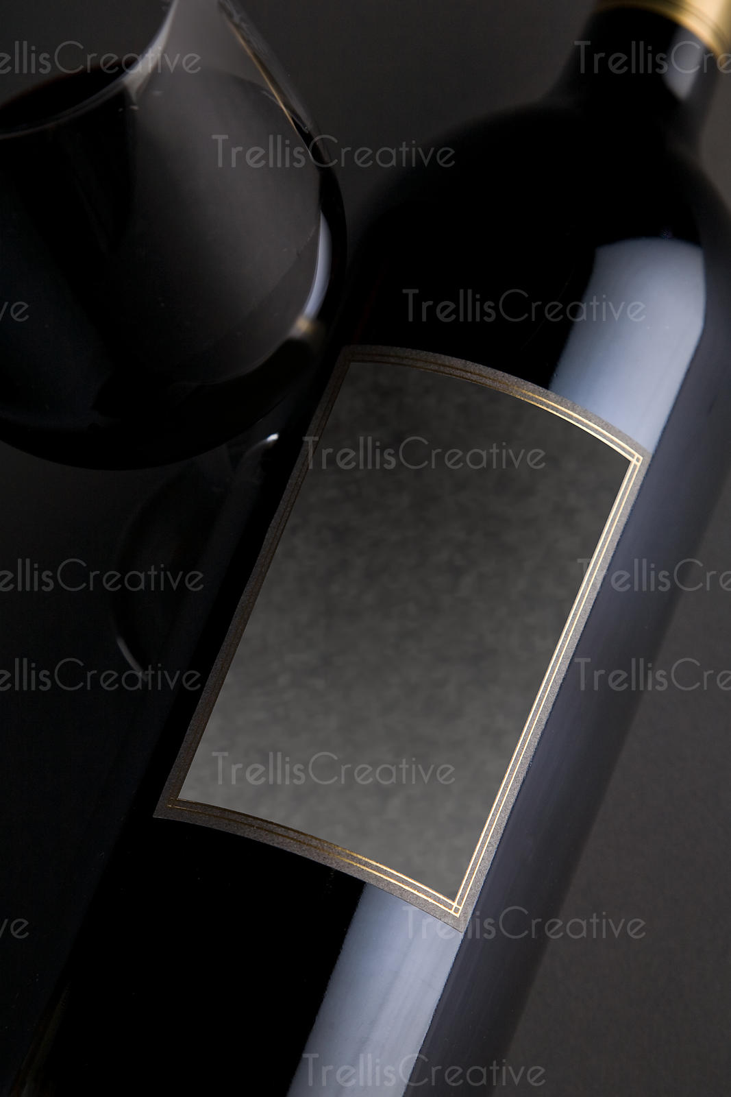 Red Bordeaux style wine magnum bottle with blank gray label