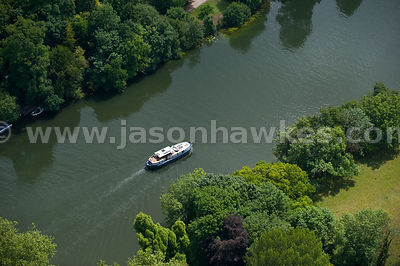 Aerial view of boat on River Thames, Berkshire