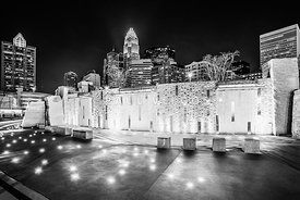 Charlotte Skyline at Night Black and White Photo