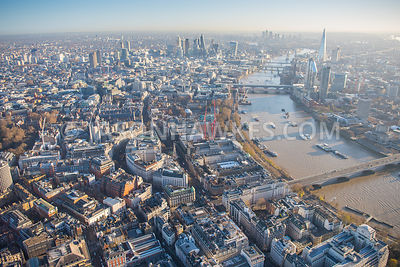 Aerial view of Aldwych, Fleet St, London.
