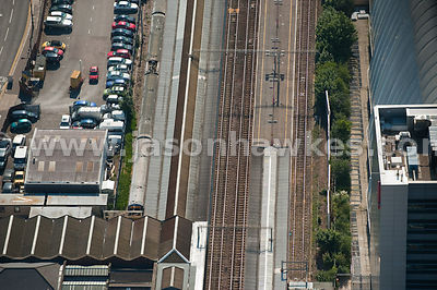 Aerial view of train station