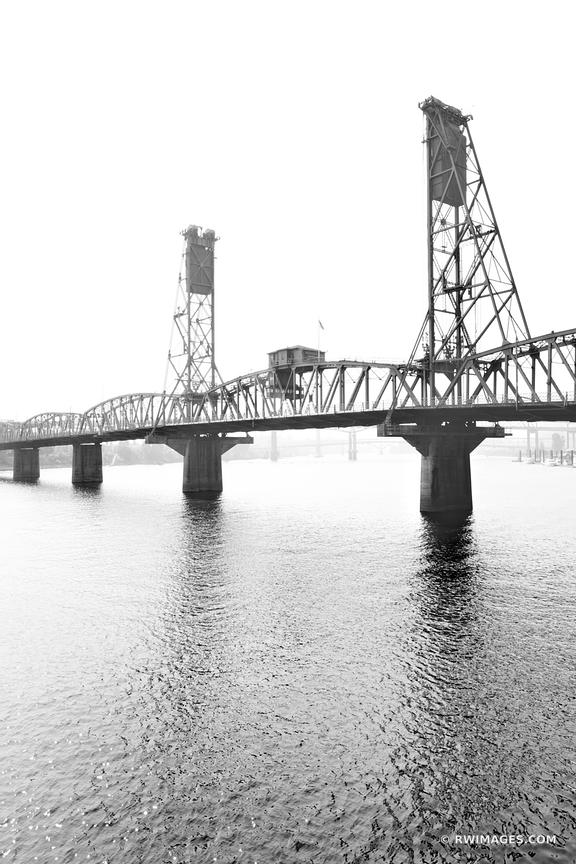 HAWTHORNE BRIDGE OVER WILLAMETTE RIVER PORTLAND OREGON BLACK AND WHITE VERTICAL