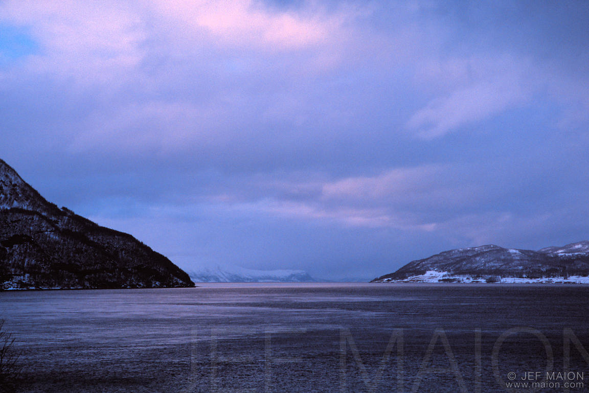 Dusk on winter fjord