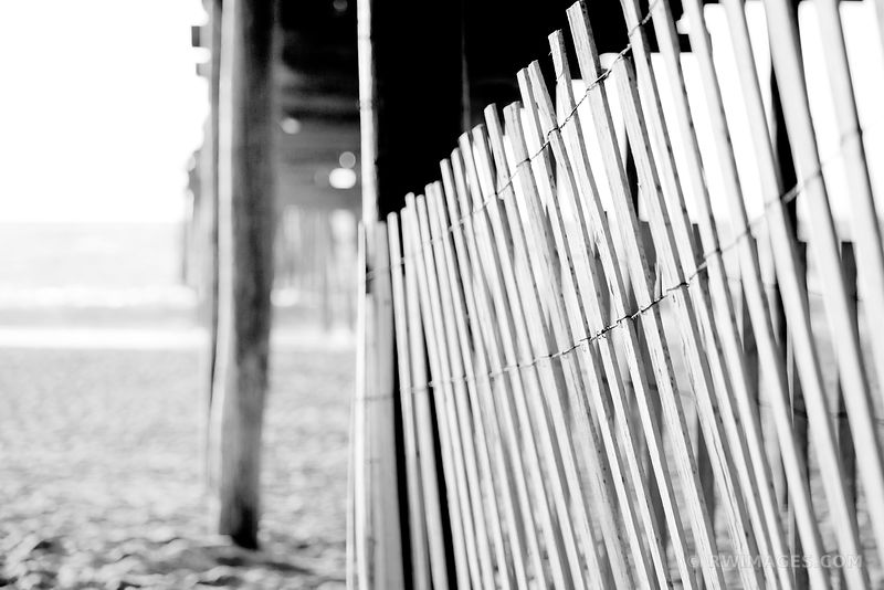 FISHING PIER HATTERAS ISLAND OUTER BANKS BLACK AND WHITE