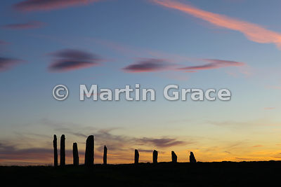 Ring of Brodgar neolithic stone circle at sunset, West Mainland, Orkney