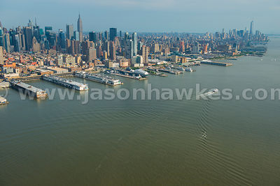Aerial view of the Hudson River looking towards Midtown