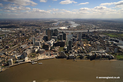 Wide angle panoramic aerial photograph of London Docklands