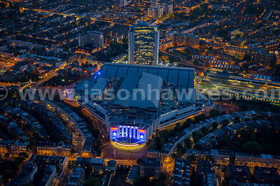 Aerial view of Earls Court at night, London Borough of Kensington and Chelsea, London